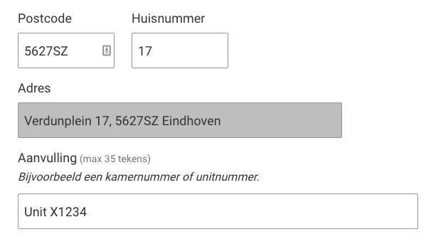 Wijziging adres Eindhoven